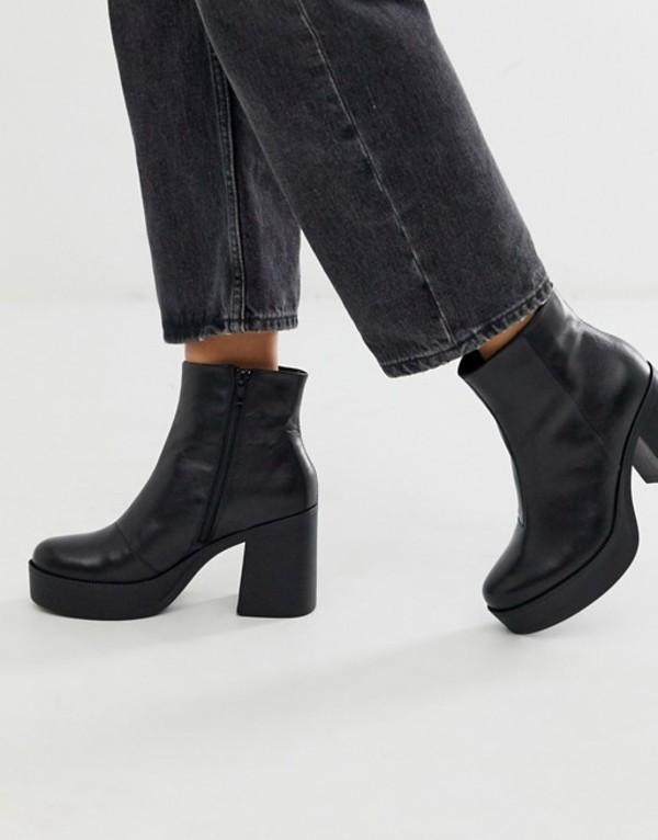 アルド レディース ブーツ・レインブーツ シューズ ALDO Boawia platform heel leather boot Black leather