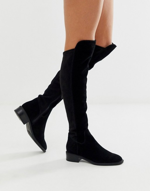 アルド レディース ブーツ・レインブーツ シューズ ALDO Byssa over the knee flat boot in black suede Black suede