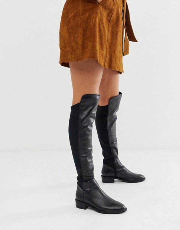 アルド レディース ブーツ・レインブーツ シューズ ALDO Byssa over the knee flat boot in black leather Black leather