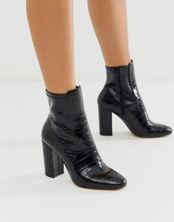 アルド レディース ブーツ・レインブーツ シューズ ALDO Aurella block heel boot Black croc synthetic