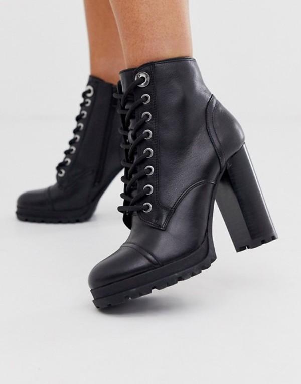 アルド レディース ブーツ・レインブーツ シューズ ALDO Marille chunky sole heel hiker boot Black leather