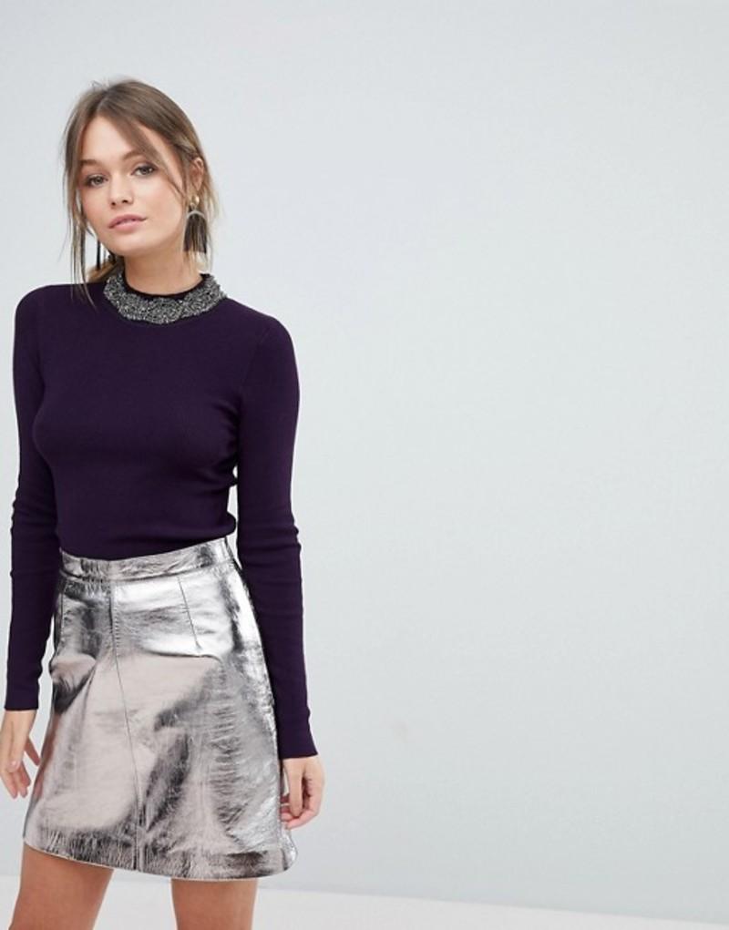オアシス レディース ニット・セーター アウター Oasis Embellished Neck Sweater Purple