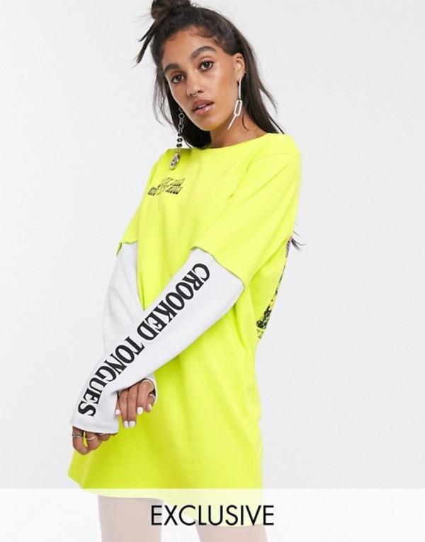 クルックドタン レディース ワンピース トップス Crooked Tongues oversized double layer t-shirt dress with photographic back print Green
