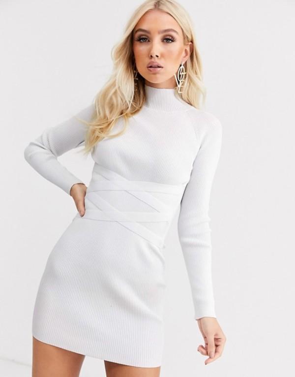 エイソス レディース ワンピース トップス ASOS DESIGN structured knit mini dress with waist detail White
