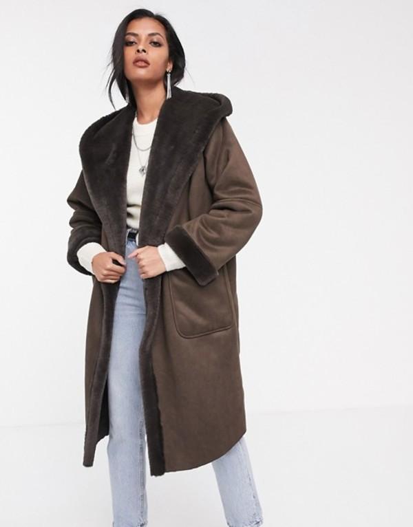 レリジョン レディース コート アウター Religion longline hooded shearling coat Brown