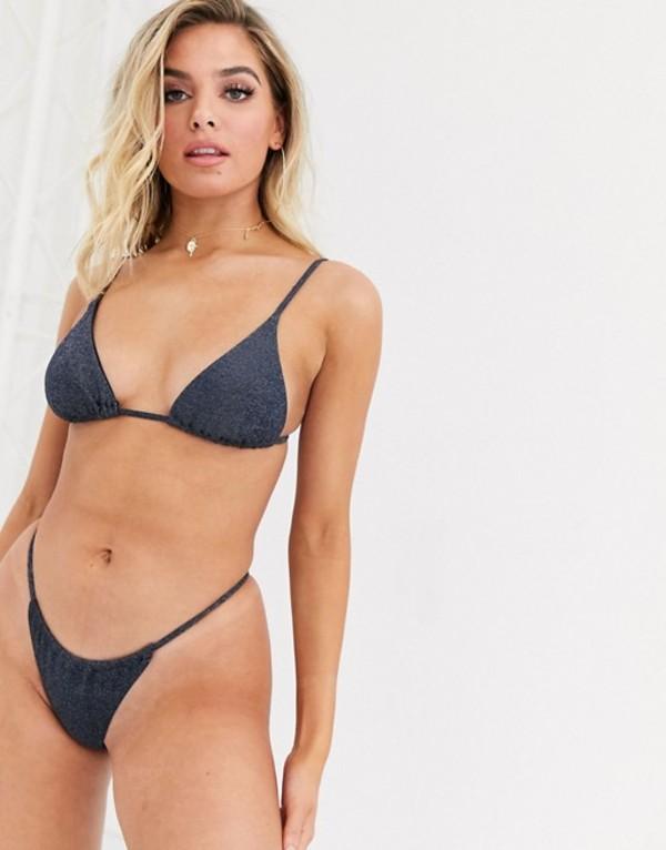 ツウィン レディース トップのみ 水着 Twiin Mariah micro triangle bikini top in navy glitter Navy