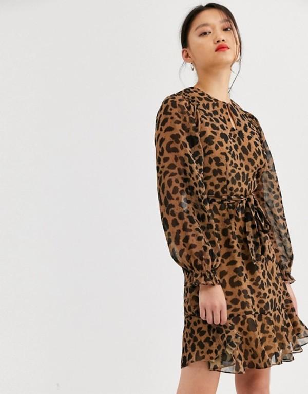 ホイッスルズ レディース ワンピース トップス Whistles brushed cheetah mini dress Leopard print