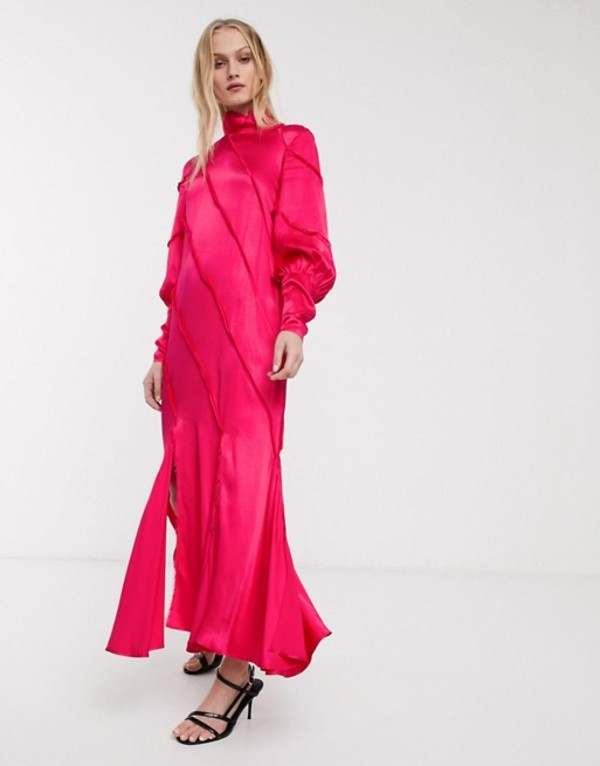 エイソス レディース ワンピース トップス ASOS WHITE raw edge paneled long sleeve maxi dress Pink