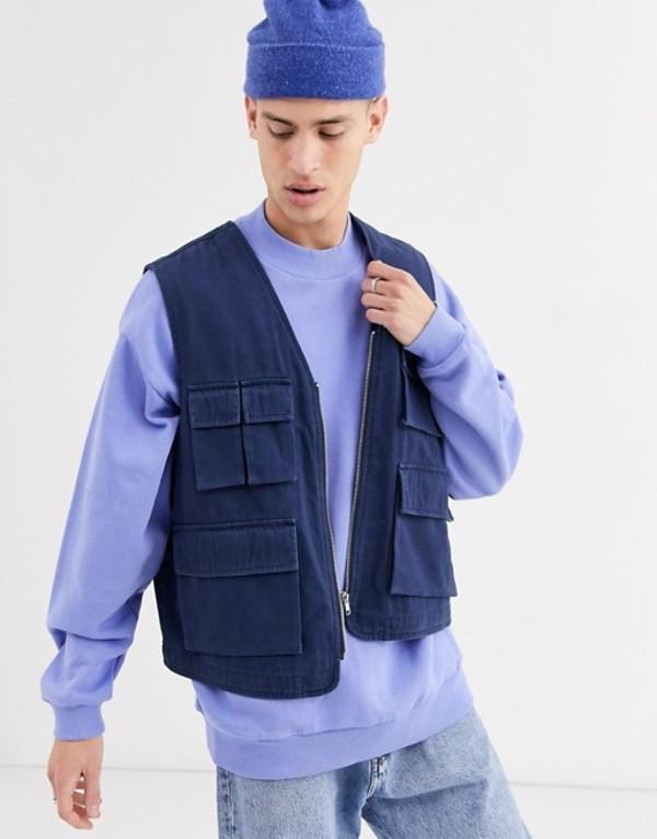 エイソス メンズ タンクトップ トップス ASOS DESIGN utility vest in navy Navy