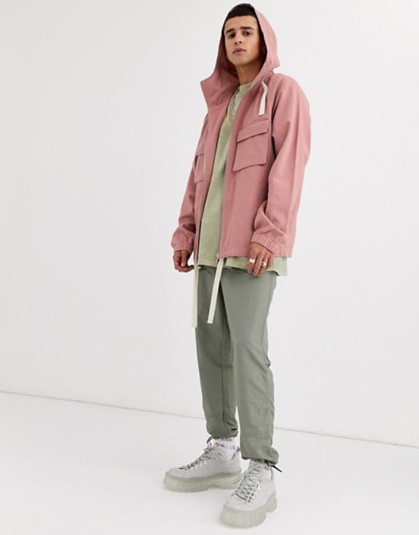 エイソス メンズ タンクトップ トップス ASOS DESIGN hooded jacket in pink Pink