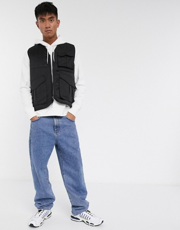 エイソス メンズ タンクトップ トップス ASOS DESIGN quilted vest in black Black