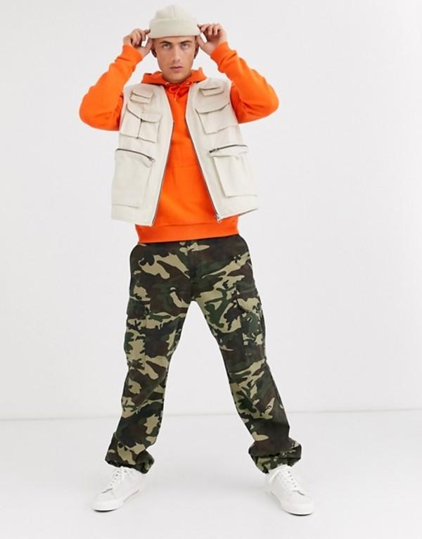 エイソス メンズ タンクトップ トップス ASOS DESIGN vest with utility pockets in off white Stone