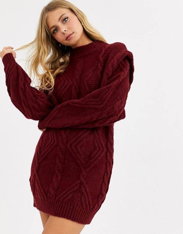 エイソス レディース ワンピース トップス ASOS DESIGN cable sweater dress with shoulder detail Dark red