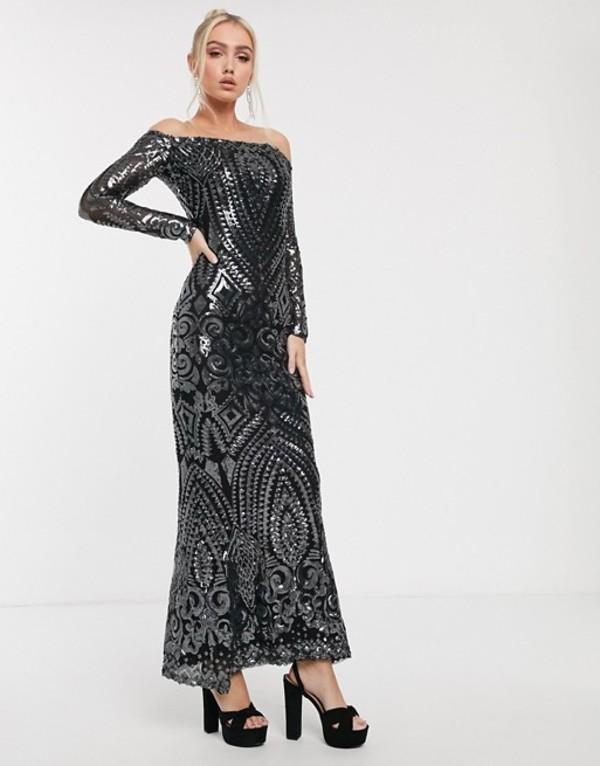 ゴッドディバ レディース ワンピース トップス Goddiva bandeau maxi dress in charcoal sequin Black