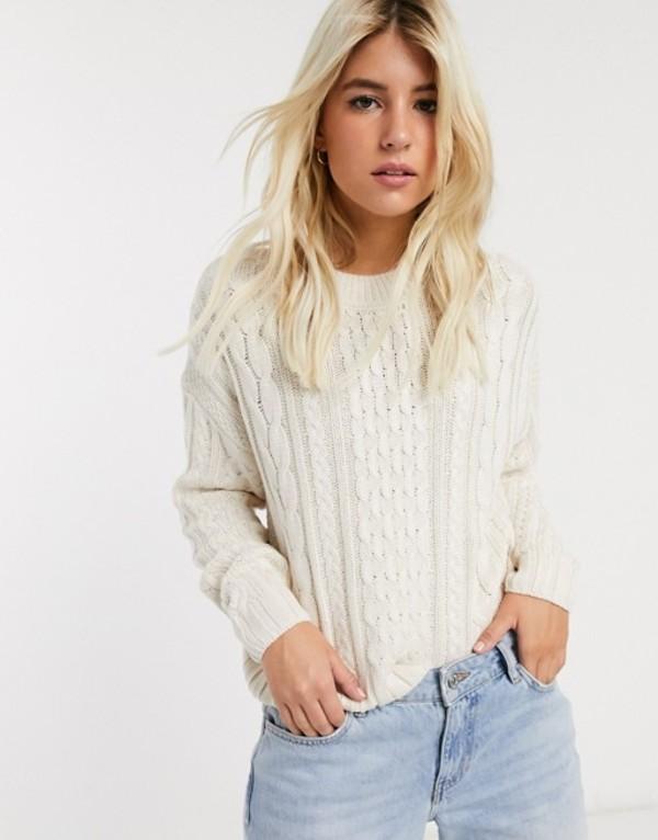 プルアンドベアー レディース ニット・セーター アウター Pull&Bear cable knitted sweater in ecru Ecru