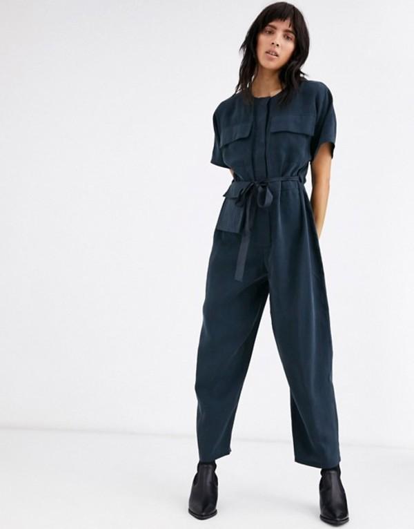 エイソス レディース ワンピース トップス ASOS DESIGN minimal boiler jumpsuit with detachable fanny pack Navy