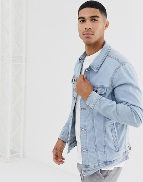 プルアンドベアー メンズ ジャケット・ブルゾン アウター Pull&Bear denim jacket in light blue Indig-cla