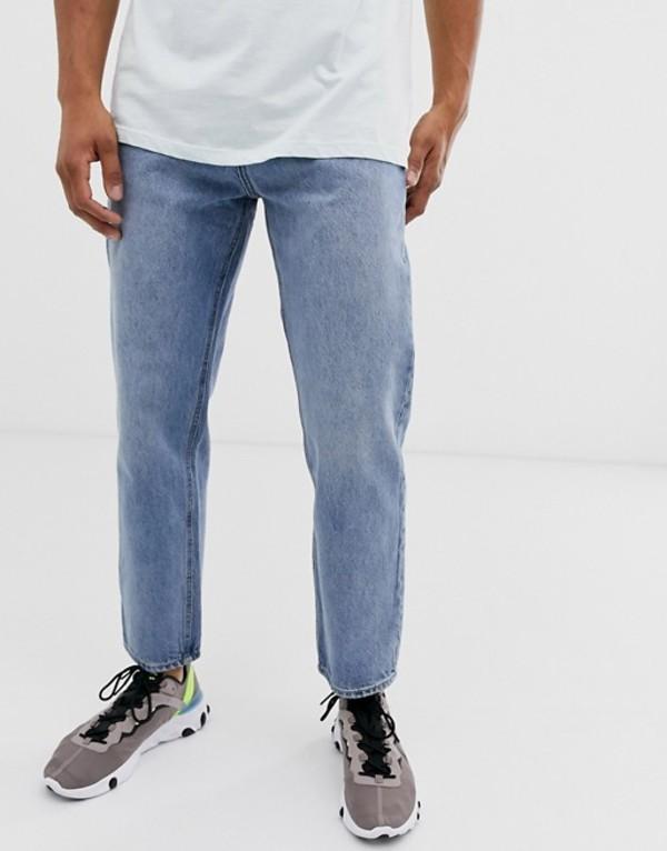 プルアンドベアー メンズ デニムパンツ ボトムス Pull&Bear slim dad fit jeans in blue Blue