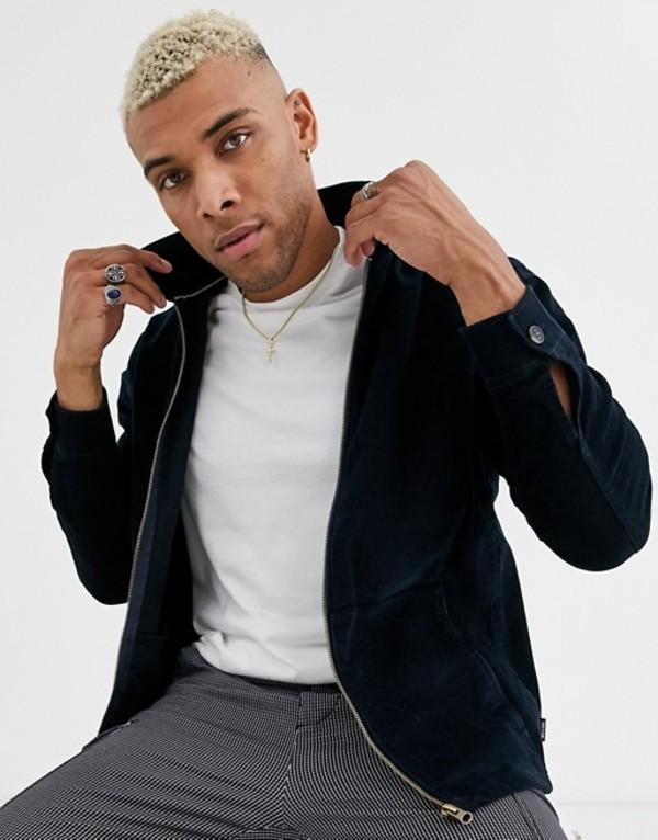 オンリーアンドサンズ メンズ ジャケット・ブルゾン アウター Only & Sons needle cord zip through jacket in navy Dark navy