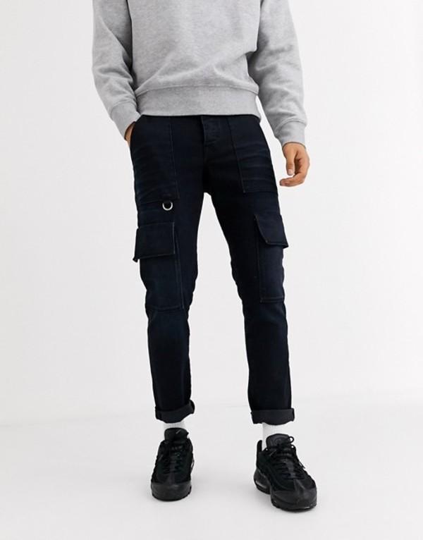 エイソス メンズ デニムパンツ ボトムス ASOS DESIGN slim jeans in dark blue with cargo pockets and D rings Dark wash blue