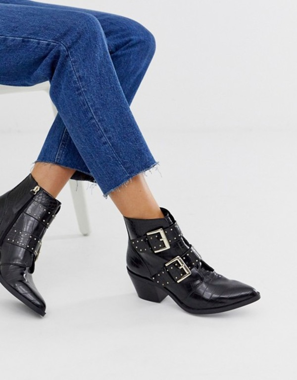 ストラディバリウス レディース ブーツ・レインブーツ シューズ Stradivarius STR moc croc heeled buckle boots in black Black