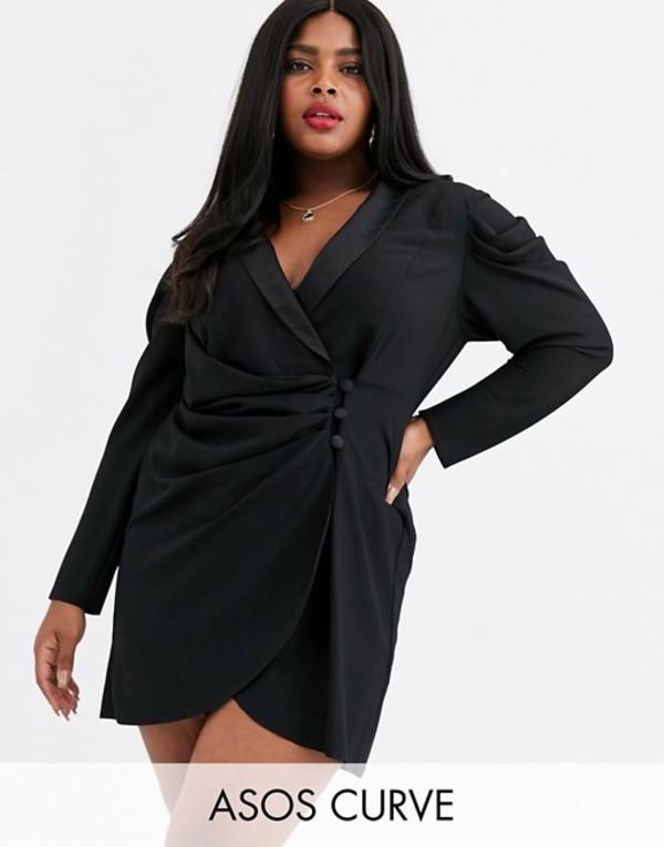 エイソス レディース ワンピース トップス ASOS DESIGN Curve mini drape front tux dress Black