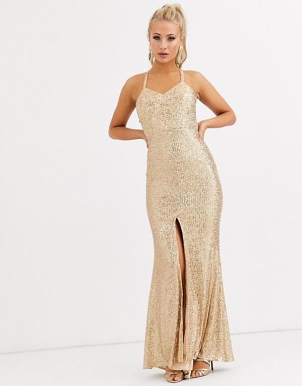 ジャーロ レディース ワンピース トップス Jarlo cami strap sequin gown with back detail in gold Gold