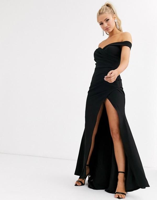 ジャーロ レディース ワンピース トップス Jarlo bardot maxi dress with sweetheart plunge in black Black