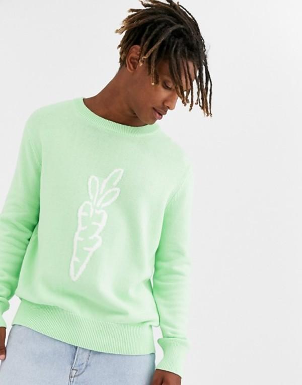 キャロッツ メンズ ニット・セーター アウター Carrots knitted logo sweater in sage Sage