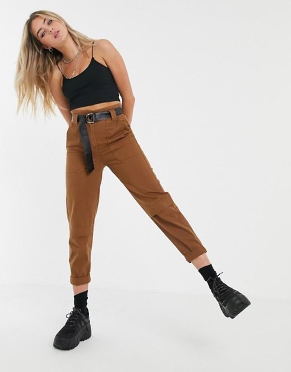 ベルシュカ レディース カジュアルパンツ ボトムス Bershka belted pants in brown Brown