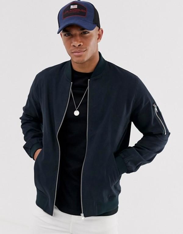 エイソス メンズ ジャケット・ブルゾン アウター ASOS DESIGN bomber jacket with MA1 pocket in navy Navy