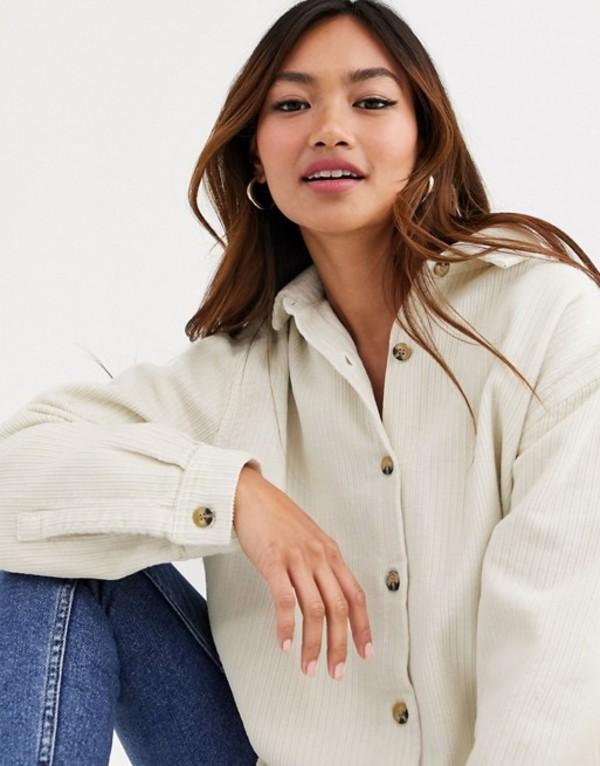 エイソス レディース シャツ トップス ASOS DESIGN cord oversized shirt in off white Custard