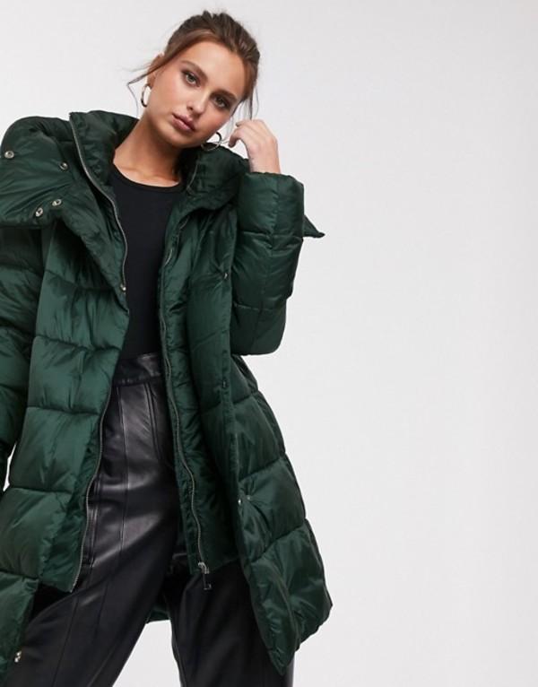 ストラディバリウス レディース コート アウター Stradivarius padded coat with double collar in green Green