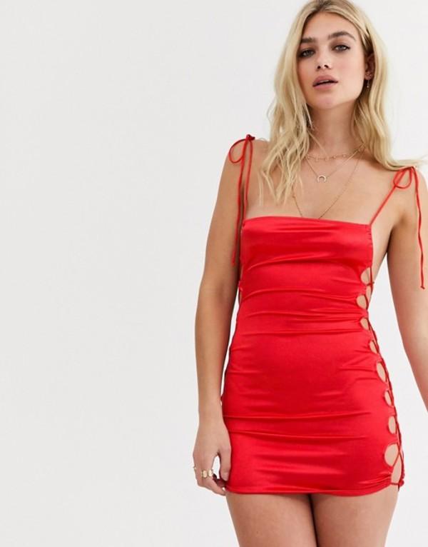 モーテル レディース ワンピース トップス Motel mini cami dress with lattice side detail in satin Red satin