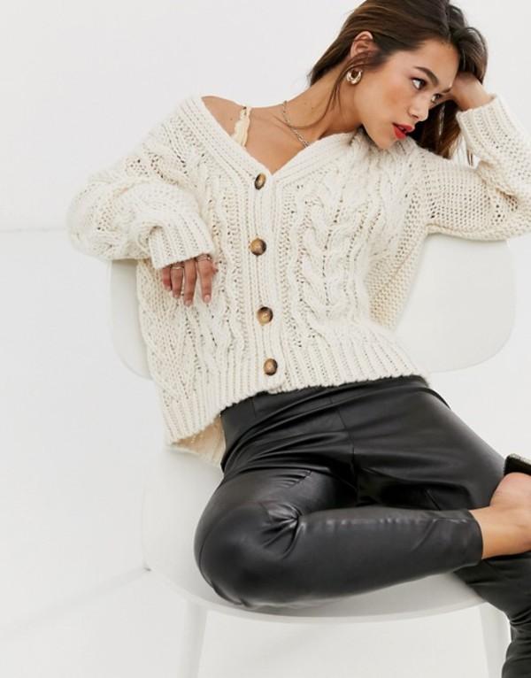 マンゴ レディース カーディガン アウター Mango button front oversized cable knit cardigan in cream Cream