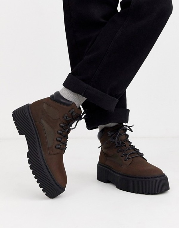 エイソス メンズ ブーツ・レインブーツ シューズ ASOS DESIGN lace up boot in brown faux leather with chunky sole Brown