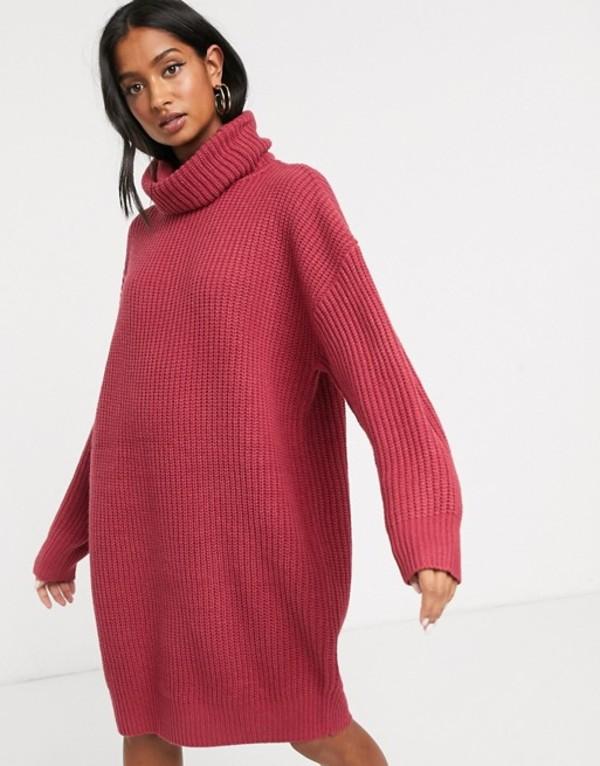 ミチャラウンジ レディース ワンピース トップス Micha Lounge heavy rib rollneck knitted dress with balloon sleeve Raspberry