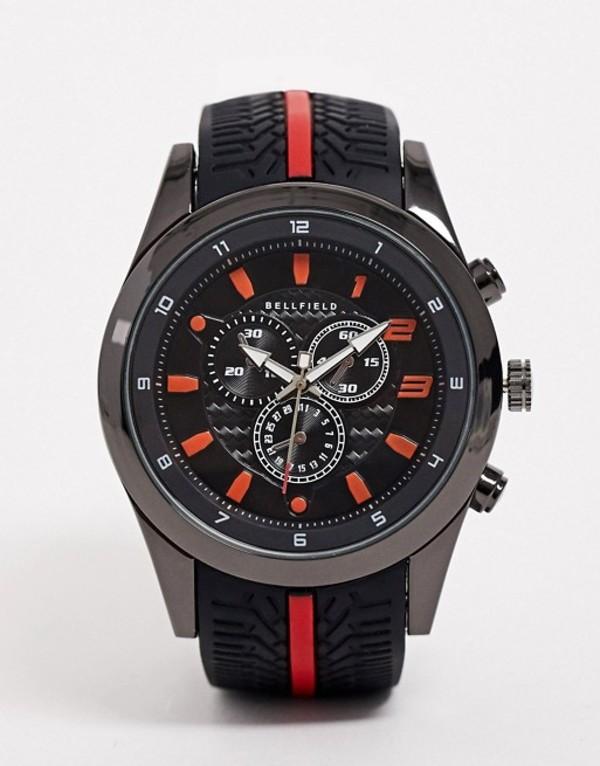 ベルフィールド メンズ 腕時計 アクセサリー Bellfield mens chronograph watch with red highlight Black