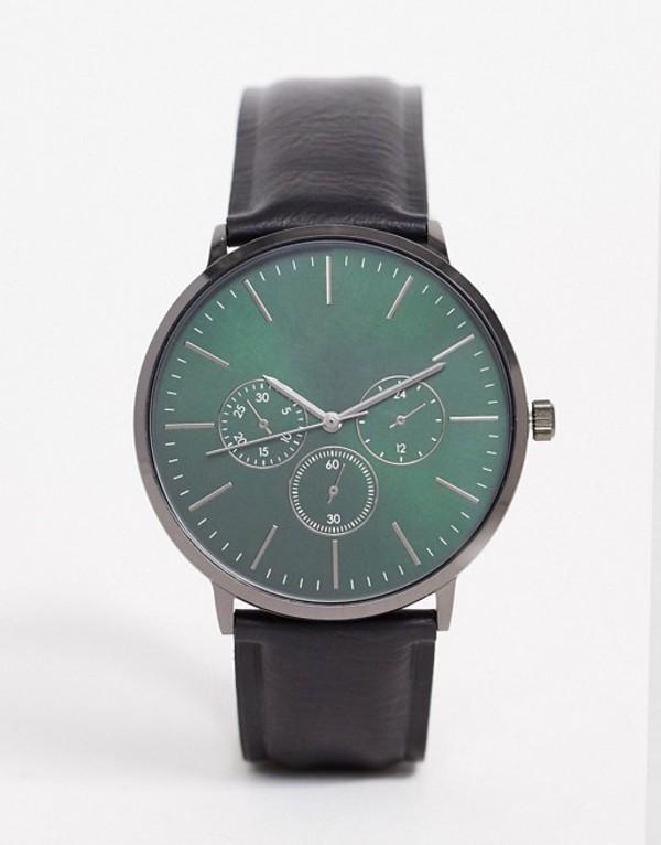 エイソス メンズ 腕時計 アクセサリー ASOS DESIGN watch in black with green dial Black