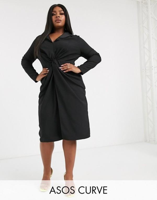 エイソス レディース ワンピース トップス ASOS DESIGN Curve twist front plunge midi dress Black