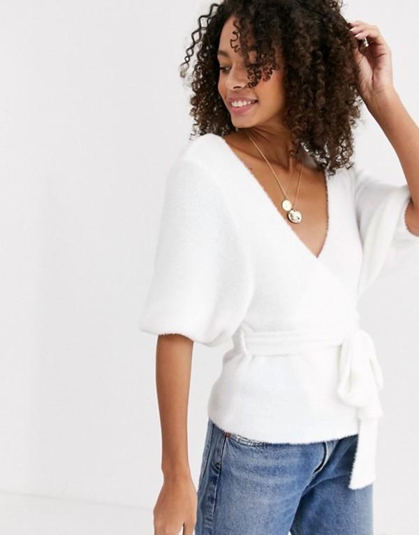 エイソス レディース ニット・セーター アウター ASOS DESIGN fluffy wrap sweater White