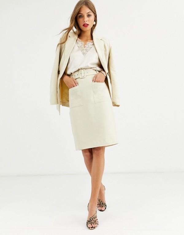 ワイエーエス レディース スカート ボトムス Y.A.S belted high waisted skirt Creme brulee