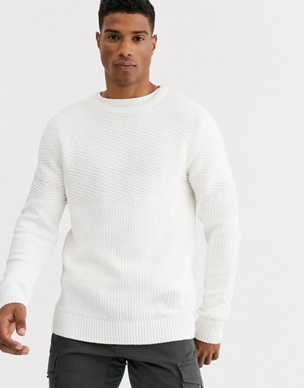 ジャック アンド ジョーンズ メンズ ニット・セーター アウター Jack & Jones Premium textured crew neck knitted sweater in white Blanc de blanc