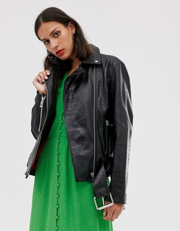 ホイッスルズ レディース ジャケット・ブルゾン アウター Whistles adriana leather croc biker jacket Black