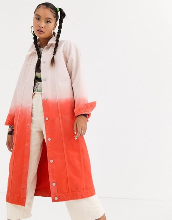 ジェーデッド レディース ジャケット・ブルゾン アウター Jaded London oversized coat in ombre denim Pink ombre