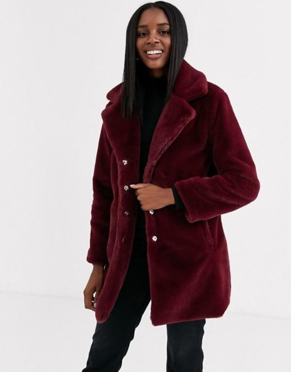 ブレーブソウル レディース コート アウター Brave Soul clare faux fur coat Burgundy