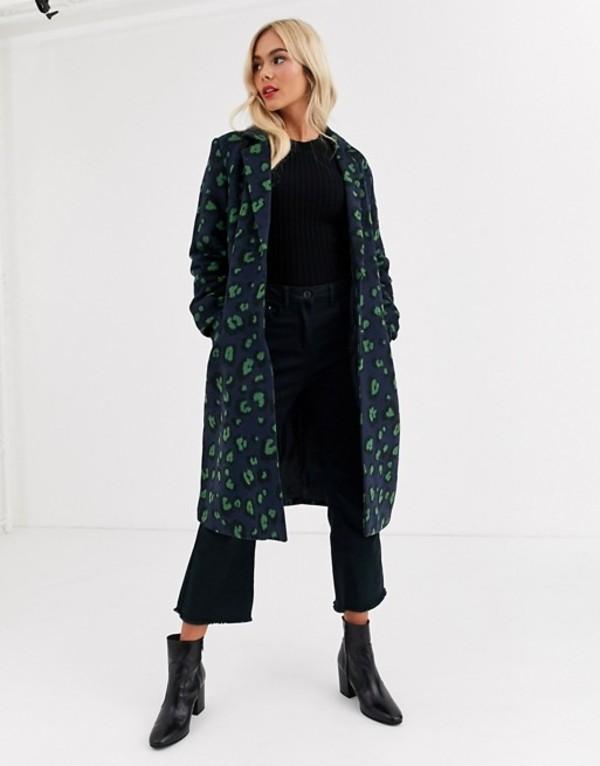 ブレーブソウル レディース コート アウター Brave Soul edie tailored coat in leopard Blue