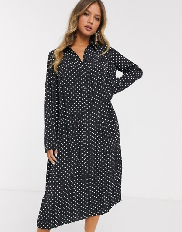 エイソス レディース ワンピース トップス ASOS DESIGN pleated midi shirt dress in mono polka dot Black/white spot