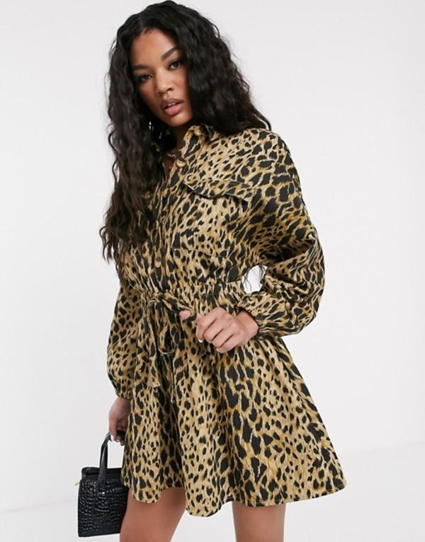 エイソス レディース ワンピース トップス ASOS DESIGN casual mini shirt dress with ruched waist in leopard print Leopard print