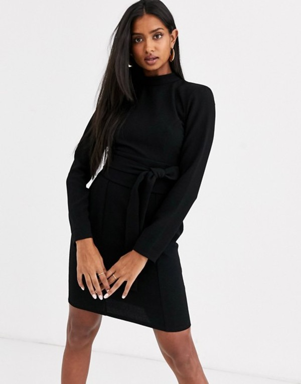 エイソス レディース ワンピース トップス ASOS DESIGN long sleeve mini dress with obi belt Black
